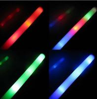 Wholesale Rally Rave Cheer Tube Soft Baton Light Up Foam Sticks LED Wands Rally Rave Batons DJ Flashing Glow Stick
