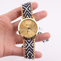 Wholesale 2015 New Brand Handmade Braided Rope Friendship Bracelet Watch GENEVA Watch Ladies Quartz Wristwatches JJAL