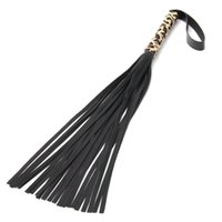 adult fun costumes - Black Leopard PU Leather Handle Scattered Whip Sex Product Adult Fun Game Tools Cosplay Game Costume Couple Role Play for Couple