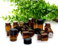 Wholesale 500PCS Small Amber Essential Oil Bottle With Plastic Lids Sample Glass Bottle Mini Brown Glass Vials Small Glass Container