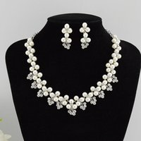 Cheap Silver Plated Cream Pearl Bridal Jewelry Wedding Accessories Rhinestone Crystal Bridal Necklace and Earrings Jewelry Set Free Shipping ZYY