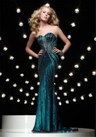Cheap 2015 New Grace Cheap Prom Dresses Sweetheart Sleeveless Backless Sequins Crystals Long Length Peacock Green Satin Party Evening Gowns