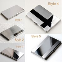 Wholesale LOGO Free Print Vogue Stainless Steel Silver Aluminium Business ID Name Credit Card Holder Case Advertising DHL Fedex