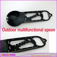 Wholesale DHL free shippng Outdoor multifunctional spoon Camping multi function spoons forks spoon bottle opener Stainless steel spoon Graduated scale