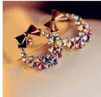 Wholesale fashion bowknot crystal earrings exquisite sparkling crystal bowknot multi colored colorful bow stud earrings
