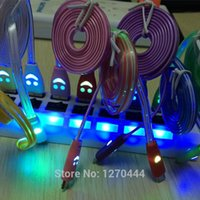 Wholesale Smile Face LED Light Micro USB Data Sync Charger Cable For samsung s2 note note for xiaomi for HTC one For Most of Phones