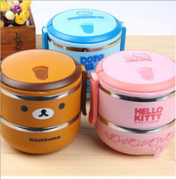 Cheap 2015 New Stainless steel lunch box Cartoon Cute Popular bento Box the best food containers to kids Hot Selling