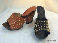 Wholesale 12cm Chunky Heel Wood Bottom Leather Metal Buckle Heels Waterproof Fashion