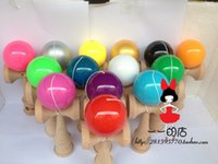 Wholesale 14 kinds of colors factory outlets Boutique Traditional beech Wood Game Toy Kendama Ball PU Paint piece tribute professional