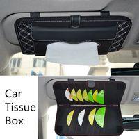 Wholesale Car sun visor Tissue box Auto accessories holder Paper napkin clip PU leather Case