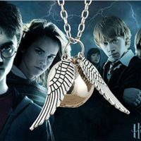Cheap Silver and copper Harry Potter necklace Hogwarts Quidditch wings and ball snitch gold harry potter necklace