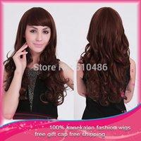 Cheap Free Shipping 1Pcs Lot women heat resistant party wigs Sexy Long Fashion Full Wavy Synthetic Hair Wigs