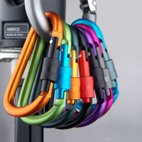 Wholesale 78 mm Outdoor multi colors Safety Buckle With Lock Aluminium Alloy Climbing Button Carabiner Camping Hiking Hook FG1511