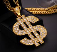 Wholesale Fashion Men Hip Hop Gothic18K Gold Long US Dollar Pendant Necklace Chain Accessories Necklaces Pendants for Women Men Jewelry
