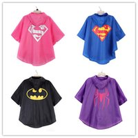 Wholesale 2015 Kids superhero raincoat Super hero Spiderman Supergirl Batgirl Spidergirl Kids RainCoat children Rainwear shipping free