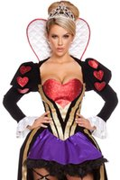 alice queen costume - 2016 New Arrival Women s Alice in Wonderland Costume Red Queen of Hearts Costume Fancy Party Dress Long Gown for Halloween Cosplay H8959