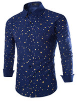 Wholesale NEW Men s shirt Men s Casual slim Long Sleeve Fashion stars print Shirts Dress Shirts For Mens Business Shirts