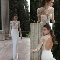 best cheap wedding dresses - Cheap Best Selling Lace Long Sleeves Sheer Wedding Dresses Elegant Floor Length Crew Neckline Backless Bridal Gowns BO3910