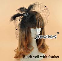 antique veils - Black Retro Audrey Hepburn Bridal Hair Accessories Birdcage Wedding Veil Feather Rhinestones Dot Bridal Accessories Handmade Cheap