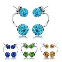 acrylic crystal hook - Fashion Shambhala Balls Dangle Earrings Silver plated Double Sided Crystal Beads Hook Chandelier Earrings cheap jewellery For Women lady