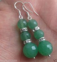 Wholesale gt gt gt gt gt mm Natural Faceted Green Emerald Gemstones Silver Earrings