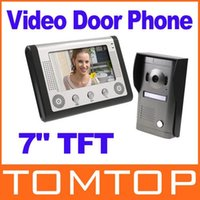 Wholesale 7 quot TFT Color Display Wired Video Door Phone Doorbell Intercom System DHL freeshipping Dropshipping