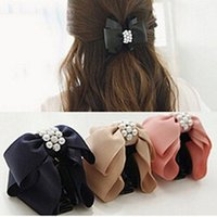 Wholesale Hot Korean Women Elegant Bowknot Bow Rhinestone Pearl Barrette Hair Clip Claw Clamp Fashion Hair accessories