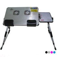 Wholesale portable folding adjustable height aluminum alloy laptop desk with fans retail with four colors