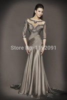 beaded nylon strap - Long Grey Evening Dresses New Arrival Formal Sheer Prom Dress With Sleeve Beaded Top Mermaid Designer Chiffon Party Gowns