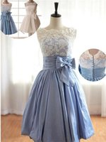 Wholesale Elegant Summer Short Graduation Dresses Lace Top Bateau Neck Capped Sleeve Covered Button Bow Belt Knee Length Party Dress Prom Gowns
