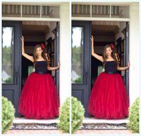 beautiful girl skirt - Beautiful Red Tutu Skirt For Girls Long Tutu Skirt With Black Ribbon Waist Tulle Skirt Weddings And Formal Wear Flower Girl Dress