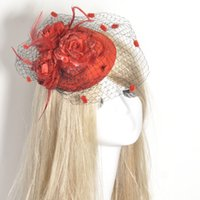hat lady red - Hair Clip Veil Feather Red Flower Mini Top Hat Fascinator Burlesque Party Fancy Dress Handmade Lady Bridal Accessory