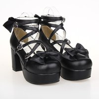 Wholesale LOLITA Shoes Black Round Bow Princess Shoes And Dress Shoes Coarse Code