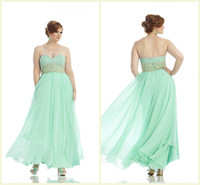 Wholesale Plus Size Chiffon Prom Dress For Pageant Women Sweetheart Floor Length Sleeveless Crystal Evening Gowns Sequins Seafoam Party Dresses