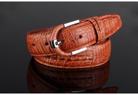 Wholesale Men Belt New Fashion Top Retro Needle Buckle Luxury Crocodile Leather Casual Personality Classic European Style