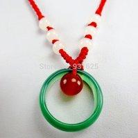 3pcs Nuevo- Lotes Hermoso collar natural 100% real verde hecha a mano Negro ágata roja de Onxy Círculo Onyx colgante de los granos colgante suerte