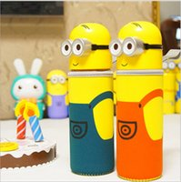 Wholesale Children Despicable Me Minions water bottles with Creative cartoon cloth cover Anti scald transparent Portable glass kids Water Bottle LD071