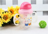 Wholesale New Baby Kids Straw Cup Drinking Bottle Sippy Cups With Handles Cute Design
