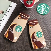 apple tea cup - iphone s case D Starbucks milk coffee cup cases silicone Starbuck mocha milky tea bottle glass cover for iphone s s s plus hot