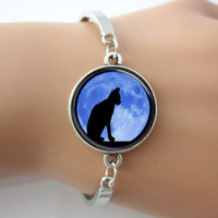 background cats - Black Cat with Moon Background Glass Cabochon Pendant Bracelets Bangles antique silver Charm Rhodium Circle fashion New Bangle