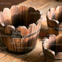 Wholesale Floral decoration sets anticorrosive cask shavings potted device flower flower flower trough outdoor wood