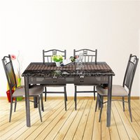 Wholesale US stock DINING SET with one dinning table and four dinning chairs Stone table top foma seat metal tube
