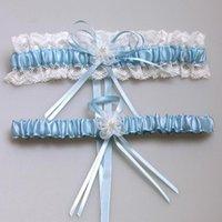 Wholesale 2pcs Colors Sexy Pink Blue Flower Ribbon Wedding Garter Set Pearl Bridal Leg Garter Belt Lace Bride Accessories
