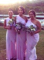 silver wedding dresses - 2015 New design Top selling Sheath Elegant Bridesmaid Dresses One Shoulder Pleats Grey Silver Chiffon Greek Charming Wedding Party gowns