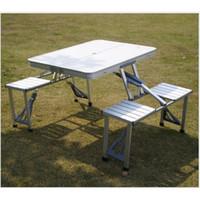 Wholesale New Portable Aluminum Folding Table and Chairs Outdoor Table Sets1 table chairs Outdoor Hiking Furniture Picnic Tables Steady