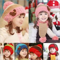 Wholesale 2014 Christmas children beret winter warm scarf scarves with knitted hats wool cap two piece children head and neck wear sets