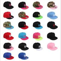 Wholesale 100 Cotton cm The new NY pink baseball caps adjustable flat hat Hip hop dance lovers Women and men Baseball Cap