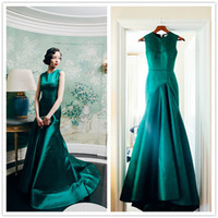 green wedding dress - Real Sample New Arrival Emerald Green Satin Mermaid Jewel Sweep Train Formal Evening Prom Dresses Occasion Wedding Party Gown