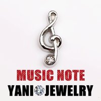 music charm pendant - Alloy Music Notes Charms Pendants Silver Plated Floating Locket Charms for Bracelet Magnetic Glass Locket Necklaces