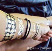 tatouage - 6pcs new sex product temporary tattoo necklace choker bracelet flash tatoo henna tatouage metalic tattoos fake body art